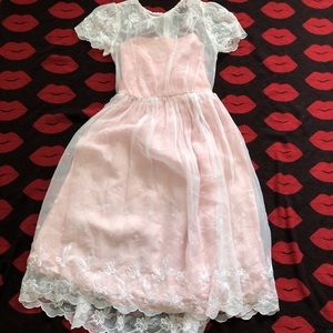 Dresses & Skirts - Vintage 80s pink floral prom formal dress S